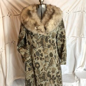 Jackets & Blazers - Vintage 50s 60s Damask Tapestry Coat Fur Collar